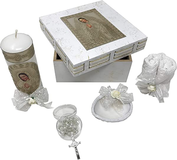 Catholic Baptism Kit In An Our Lady Of Guadalupe Wooden Box With Towel Candle Rosary And Shell For Baby Boys And Girls Handmade In Mexico Gift For Godparents Baptism Candle Set Kit De Bautizo