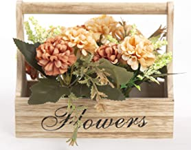 Artificial Flowers in Wooden Box with Handle Fake Flowers Indoor Outdoor Home Office Decoration - Orange