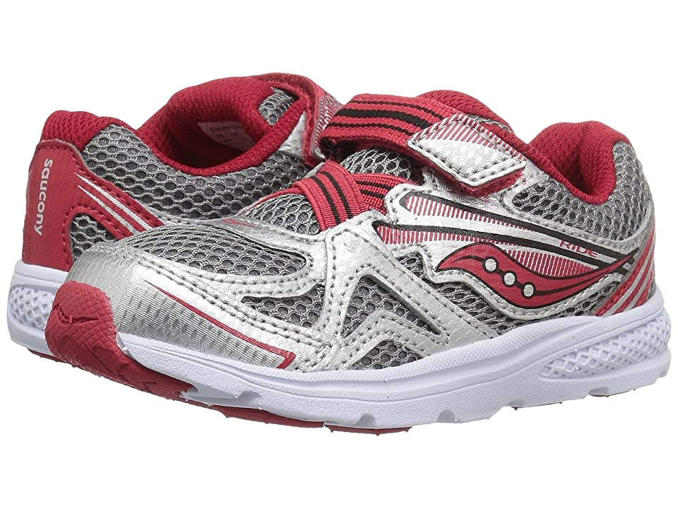 Saucony Kids Ride 9 (Toddler/Little Kid) (Silver/Red) Boys Shoes