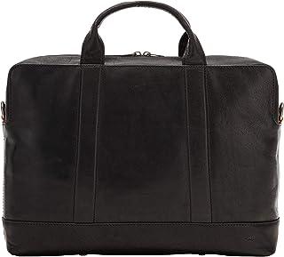 Nuvola Pelle Mens Laptop Bag Business Leather Elegant Briefcase Computer Tablet Case with Shoulder Strap Black