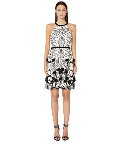 Marchesa Notte Racerback Feather Cocktail Dress w/ 3D Flower Degrade and Front Draped Bow (Ivory) Women