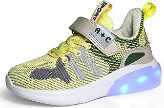 Voovix Enfants LED Light Up Chaussures USB Chargement Baskets Basses Brillantes Unisexe pour Garçons et Filles