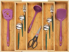 Utoplike Bamboo Expandable Kitchen Drawer Organizer, Adjustable Utensil Holder and Cutlery Tray Organiser, Drawer Divider ...