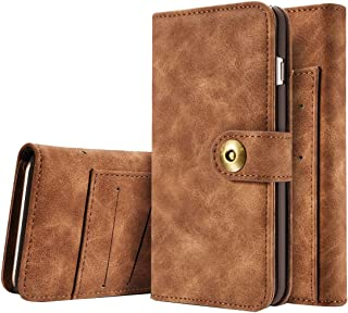 2018 Phone Covers for iPhone 6 Plus & 6s Plus,Retro Magnetic Horizontal Flip Leather Case with Card Slots & Wallet & Photo Frame & Detachable Back Cover (Color : Brown)