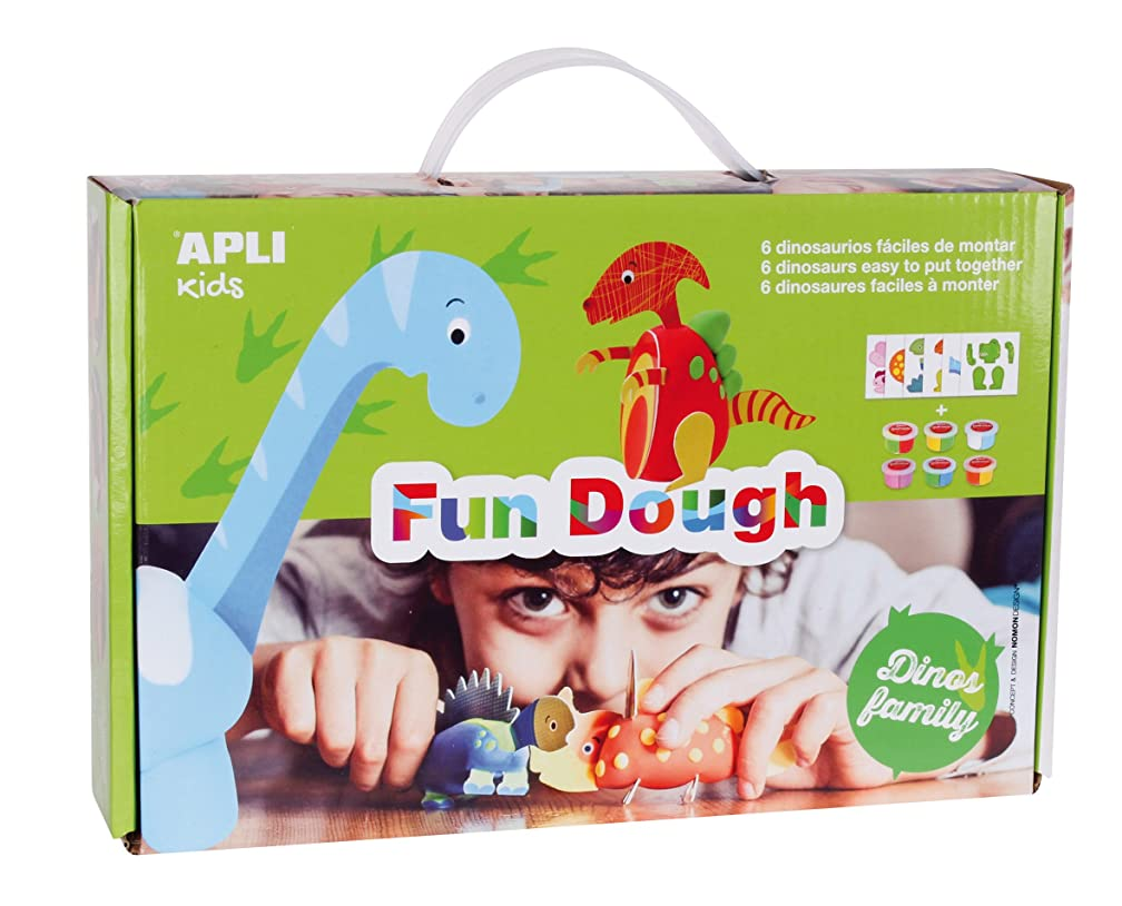 Apli Kids Fun Dough Dinosaur Modelling Set with Six Tubs (Multi-Colour)