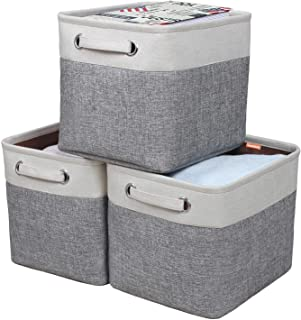 Kntiwiwo Foldable Storage Bin Collapsible Basket Cube Storage Organizer Bins with Carry Handles for Home Closet Nursery Dr...