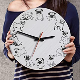VTH Global 12 Inch Silent Battery Operated Pug Dog Wood Wall Clocks Pugs Gifts for Dad Mom Pet Lovers
