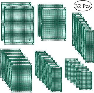 AiTrip 32 Pcs Double Sided PCB Board Prototype Kit 6 Sizes Universal Printed Circuit Protoboard for DIY Soldering Project ...
