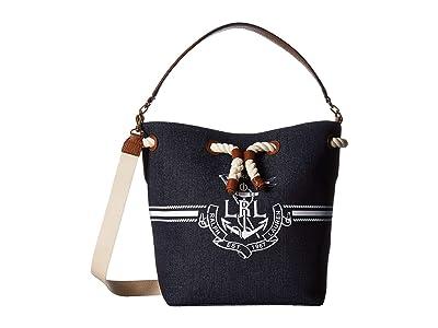 LAUREN Ralph Lauren Dryden Debby Drawstring Bag (Denim/White Logo) Handbags