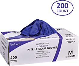 ProCure Disposable Nitrile Gloves – Powder Free, Rubber Latex Free, Medical Exam Grade, Non Sterile, Ambidextrous - Soft with Textured Tips – Cool Blue (Medium, 1 Pack, 200 Count)