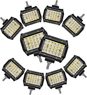 TURBOSII led light bar 10pcs led pods 4inch work light quad row offroad driving fog lights spot beam super bright for truck jeep boat atv utv waterproof IP67 led cubes 12-24V,1 year warranty
