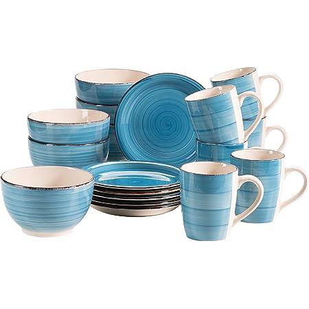 MÄSER Bel Tempo II 931601 Service à petit-déjeuner en céramique peinte à la main pour 6 personnes Bleu foncé