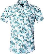 NUTEXROL Camisa Hawaiana para Hombre, Manga Corta, Estampada de Palmas, con 3 Estilos para Verano