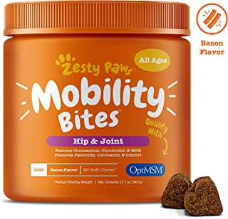 Zesty Paws Glucosamine for Dogs - Hip & Joint Supplement for Dog Arthritis Pain Relief - with Chondroitin & MSM - Advanced Natural Mobility Pet Soft Chews for Joints - All Breeds & Sizes