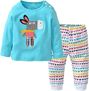 Newborn Baby Boys Girls Cartoon Donkey Long Sleeve T-Shirt and Pants 2Pcs Casual Outfit Sets White