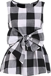 Women's Sleeveless Belted Checkered Shell Top Blouse