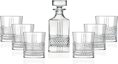 Whiskey Decanter and Glass 7 pc Set - For Whiskey, Liquor, Scotch, Bourbon - Lead Free Crystal - 29 oz. Square Decanter wi...