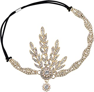 Babeyond® 1920s Style Leaf Locket Round Headband with Pearls Inspired by The Large Gatsby Accessories for Women