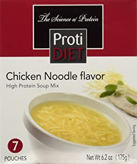 ProtiDIET Chicken Noodle Soup (7 Pouches), High Protein, Delicious Chicken Noodle Soup Mix, No Sugar Meal Replacement, No Trans Fat, 15G Protein, 90 Calories 6.2 oz