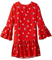 Stella McCartney Kids - Flowers Stickers Long Sleeve Viscose Dress (Toddler/Little Kids/Big Kids)