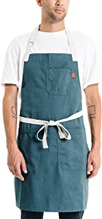 Caldo Cotton Kitchen Apron - Mens and Womens Professional Chef Bib Apron - Adjustable Straps with Pockets and Towel Loop (Spruce)