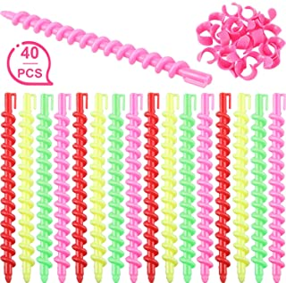 40 Pieces Plastic Spiral Hair Perm Rod Spiral Rod Barber Hairdressing Hair Rollers Salon Tools for Women Girls