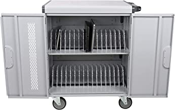 Pearington Premium Fully Assembled Heavy-Duty Smart Charge 32 Device Mobile Cart, 3 Point High Security, Up to 15.6-Inch Screen Size, Removable Dividers w/Cable Guides, Padded Slots