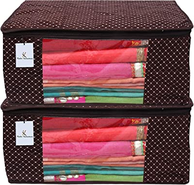 Kuber Industries Polka Dots 2 Piece Cotton 3 Layered Quilted Saree Cover, Brown-CTKTC21306