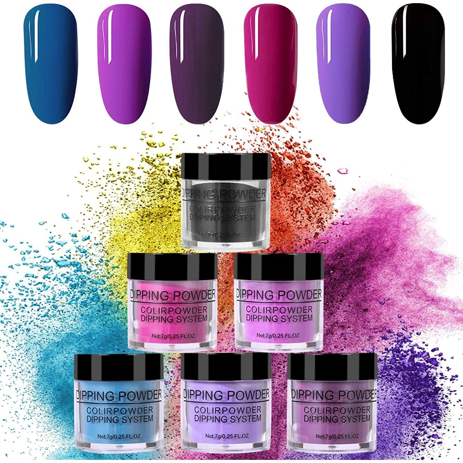 6 pcs Sale item Christmas Gel Powder Dipping Kit Nail System Starter Direct stock discount Col