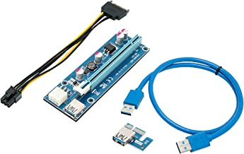 Mining Card, Riser Card, PCIe (PCI Express) 16x to 1x Riser Adapter, USB 3.0 Extension Cable 60cm, 6 pin PCI-E to SATA Power Cable, GPU Riser Adapter, Ethereum Mining Riser Card