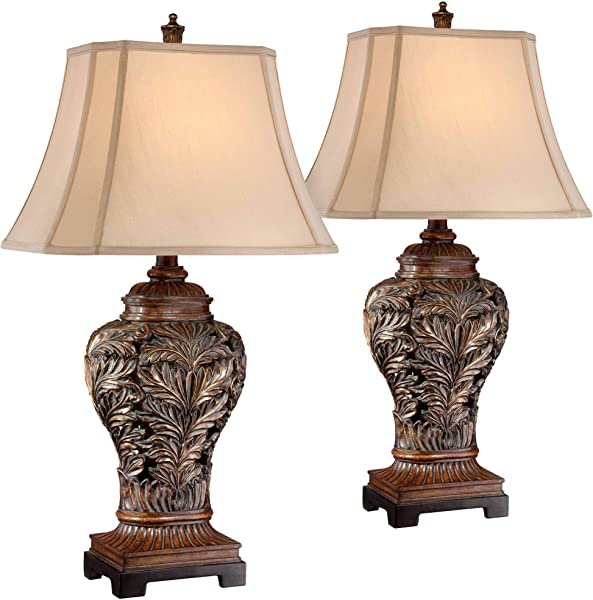 Traditional Table Lamps Set Of 2 Bronze Curling Leaves Tan Rectangular Shade For Living Room Family Bedroom Bedside Barnes And Ivy