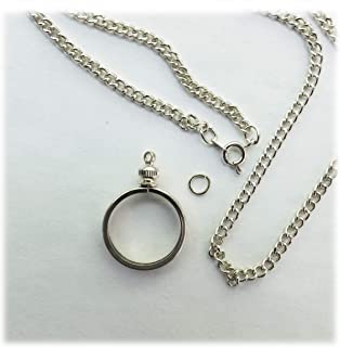 Coin Holder Bezel Penny USA 1 Cent Silver Tone Link Necklace 20