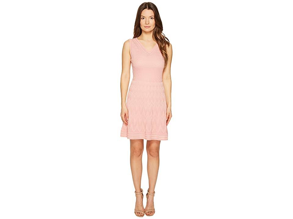 M Missoni Solid Knit Sleeveless V-Neck Dress (Blush) Women