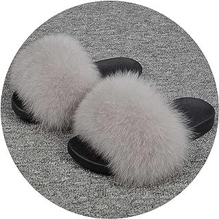 25 Colors Fox Fur Slides Hair Slippers Fur Sliders Beach Sandal Shoes for Indoor Outdoor