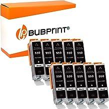 Bubprint 10 Druckerpatronen kompatibel für Canon PGI 550 XL PGI-550XL BK 550XL für Pixma IP7250 IP8750 IX6850 MG5450 MG6450 MG7550 MX920 MX925 Schwarz