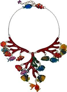 Surja Handmade in Italy - COLLIER FONDALE MARINO CON PESCIOLINI - Con rami di corallo e fauna marina realizzatI artigianal...
