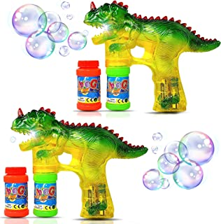 Haktoys 2-Pack Jurassic Dinosaur Light Up Bubble Gun Shooter | Bubble Blower for Toddlers, Kids, Parties | LED Flashing Lights, Extra Refill Bottles, Sound-Free (Complementary Batteries Included)