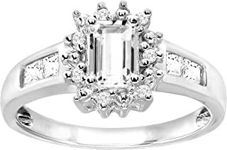 1 ct Created White Sapphire Ring with Diamonds in 10K White Gold
