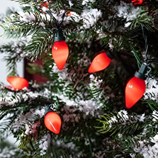 Lights4fun, Inc. 20 Red C7 Style Bulb LED Outdoor Battery Operated Christmas String Lights