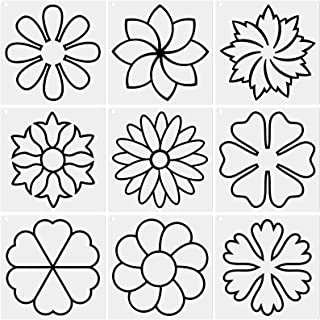 9 Pieces Flower Line Quilting Stencil Kit Sewing Stencils Flower Reusable Mylar Template Stencils with Metal Open Ring for...