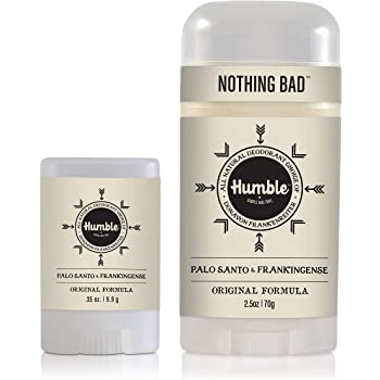 Humble Brands All Natural Aluminum Free Deodorant Stick for Women and Men, Lasts All Day, Safe, and Certified Cruelty Free Bundle with Full and Travel Size, Palo Santo and Frankincense