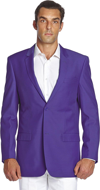 CONCITOR Men's Suit Jacket Separate Blazer Coat Solid PURPLE INDIGO Two Button