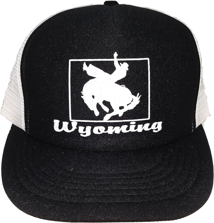 Black Wyoming Cowboy Western Mesh Trucker Hat Cap Snapback Rodeo