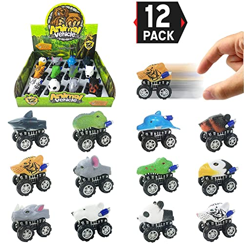Liberty Imports 12 Pack Large Monster Pull Back Cars, Animal Pull Back and Go Vehicles Toy Playset for Kids and Toddlers