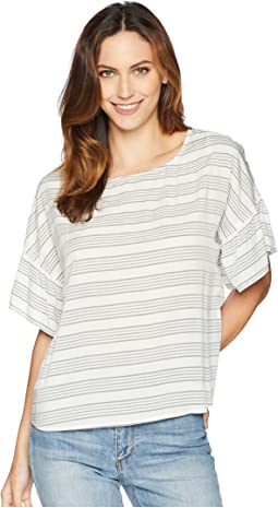 Drop Shoulder Ruffle Sleeve Bar Stripe Blouse
