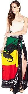 Jah Lion Rasta Sarong wrap/Beach Cover up-Black-One Size
