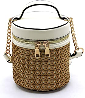 Woven Straw Wide Open Top Cylinder Shape Crossbody Purse Satchel Bag