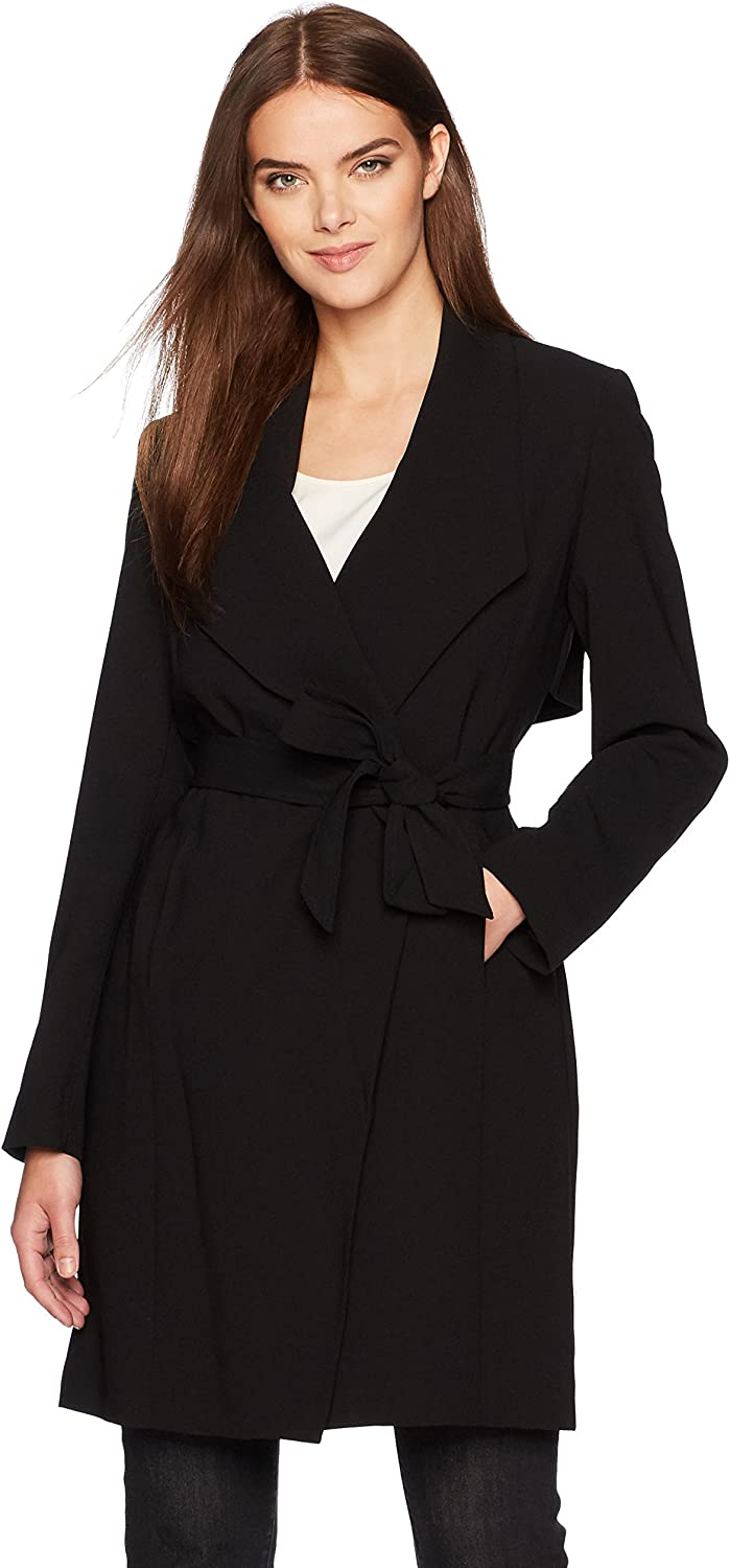 Nine West Womens Solid Crepe Tie Front Topper Jacket