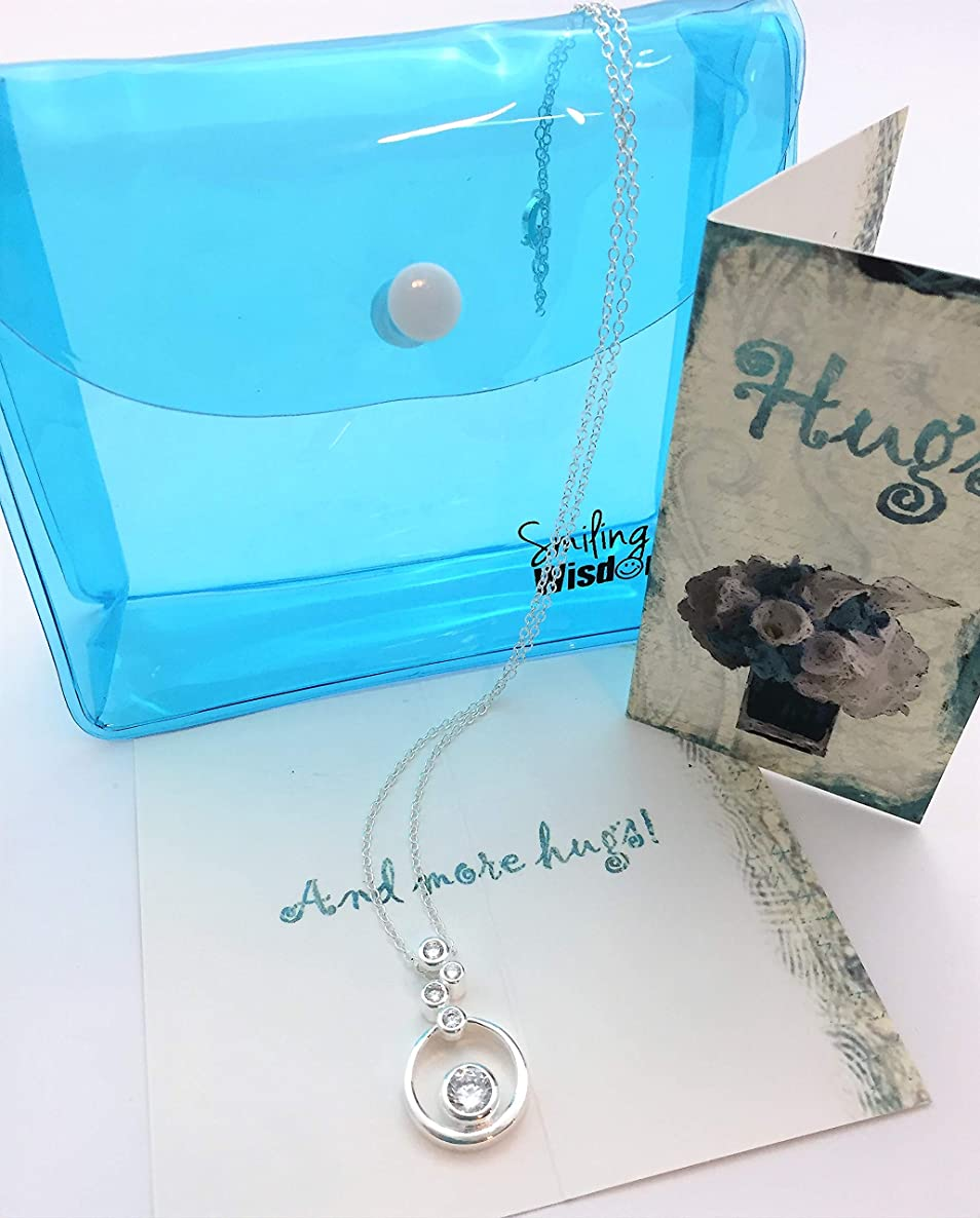 Smiling Wisdom - Hugs Embracing Rings Necklace Gift Set- 4 Rounds Silver Plated Necklace - Hugs & More Hugs! Sympathy Supportive Friend Greeting Card - Woman Her -. 925 Silver