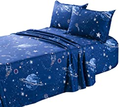 طقم ملاءات TOTORO Planet Odyssey Trek المطبوع 4 قطع ملاءة سرير مسطحة 2 كيس وسادة، ملاءات من الألياف الدقيقة للفراشات، أزرق...